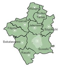 Mapa gmin powiatu suwalskiego